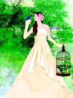 森とドレスの女性
