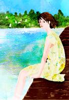 湖畔に座る女性