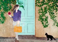 猫と女性 10672000040| 写真素材・ストックフォト・画像・イラスト素材|アマナイメージズ