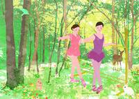 春の森でバレエをする少女たち