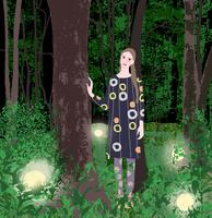 森に立つ少女