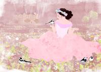 野原で鳥と戯れる少女