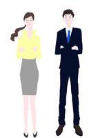 考える男性と女性