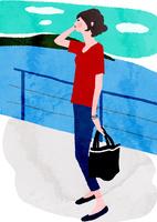海と女性 10672000068| 写真素材・ストックフォト・画像・イラスト素材|アマナイメージズ
