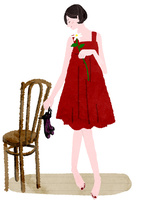 赤いドレスの女性