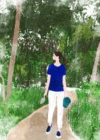 森と女性 10672000073| 写真素材・ストックフォト・画像・イラスト素材|アマナイメージズ