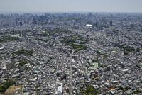 千駄木駅空撮 北側より根津神社,東京大学本郷キャンパスを望む
