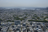 新横浜駅空撮 北西側より横浜港を望む