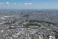日吉駅空撮 北西側より新川崎・川崎方面を望む