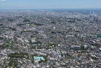 妙蓮寺駅空撮 西側より生麦・鶴見方面を望む