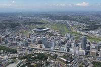 新横浜駅空撮 南東側より日産スタジアム・鶴見川方面を望む
