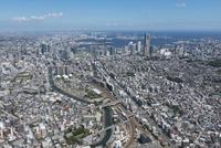西横浜駅空撮 南西側より横浜駅・みなとみらいを望む