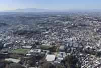 日吉駅空撮 慶應日吉キャンパス手前に富士山方面