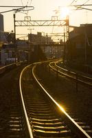 尾道にて夕暮れ時の線路