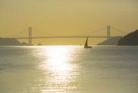 因島大橋と煌めく海に浮かぶヨット