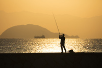 朝日金色に輝く海と釣り人