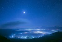 夜明け前の阿蘇の街と星空