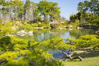 縮景園の濯纓池と悠々亭