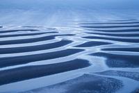 御輿来海岸の有明海砂干潟の夕暮れ
