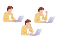 コンピューターで仕事をする女性