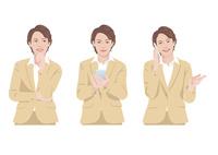 スマートフォンで仕事をする女性