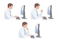 コンピューターで仕事をする男性