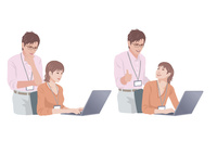 コンピューターで仕事をする男性と女性