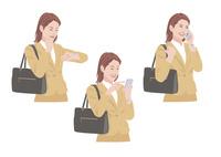 バッグを持ちながら時間確認をして携帯電話で連絡をする女性