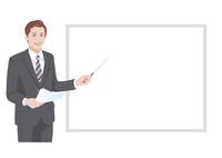 ホワイトボードの前でプレゼンテーションをする男性