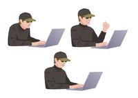 コンピューターに不正侵入しようとしている男性ハッカー