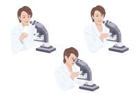 顕微鏡を見る白衣の女性研究員