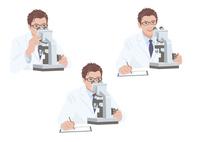 顕微鏡を見ながらメモを取る白衣の男性研究員