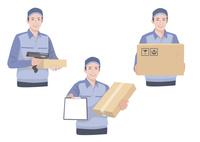 段ボールと伝票を持って配送作業をする男性