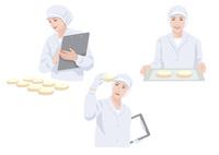食品工場で働く作業着姿の女性