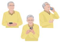 スマートフォンで会話をする60代の男性