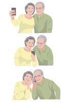 一緒に写真を撮る、メールを送る、会話をする老夫婦