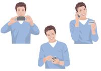 スマートフォンで写真を撮る、メールを送る、カードで買い物をする男性