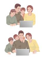 コンピューターで買い物を楽しんでいる両親と子供達