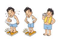 中年男性の生活、体重気にする男性