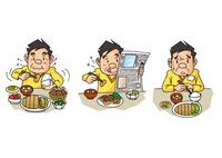 中年男性の生活、暴食・ながら食べ・食欲不振