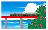 鉄橋を渡る113系湘南色電車