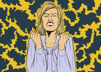 白人女性怒り背景付き
