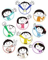 輪から顔を出す子供達10パターン