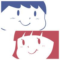 少年と少女の顔のアップ