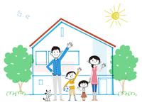 住宅の前で手を振る家族と犬
