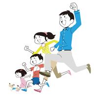 走り出す家族と犬