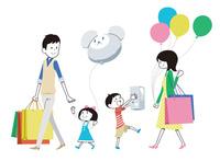 買い物帰りの家族