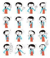 奥さんの動作表情いろいろ16パターン
