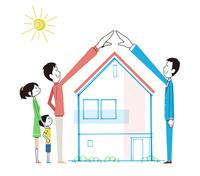 住宅に合わせてアーチを作る家族とビジネスマン