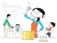 料理の味見をする母と食事の準備をする父と子供